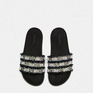 Zara Black Tweed Fabric Slip-On Sandal Slides